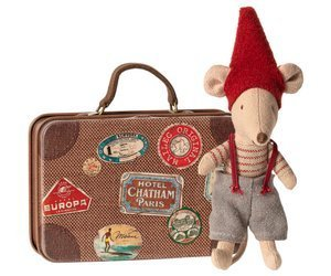Myszka - Christmas mouse in suitcase, Little brother, Maileg